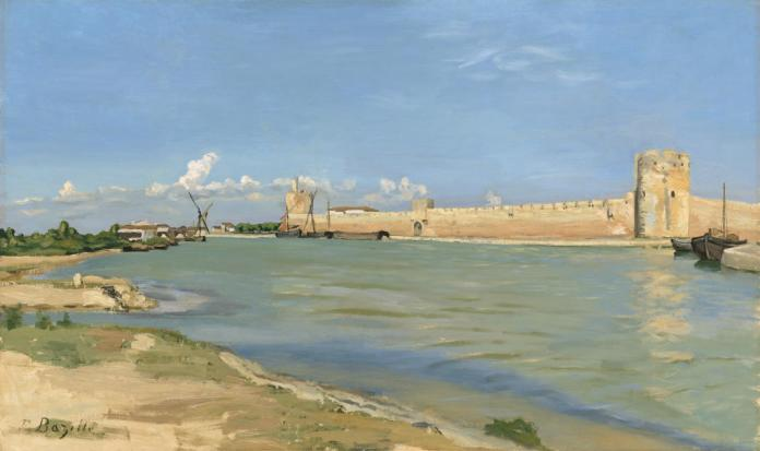Frédéric Bazille, Les Remparts d'Aigues-Mortes, du côté du couchant, 1867. Huile sur toile. 60 x 100 cm. Washington, National Gallery of Art, Collection of Mr. and Mrs. Paul Mellon (1985.64.1). © Courtesy National Gallery of Art, Washington