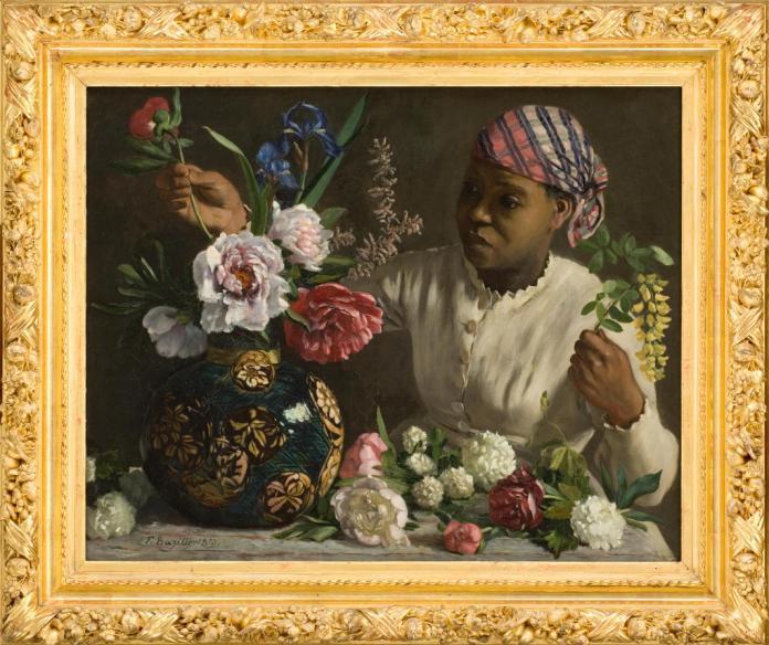 Frédéric Bazille, Négresse aux pivoines, 1870. Huile sur toile. 60 x 75 cm. Montpellier, musée Fabre. © Photo Frédéric Jaulmes