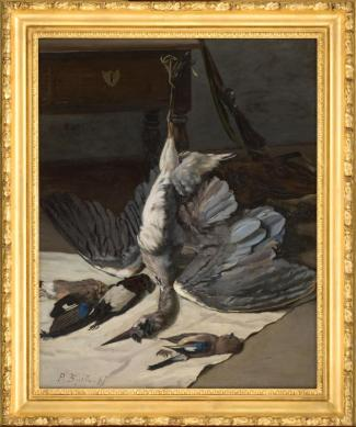 Frédéric Bazille, Nature morte au héron, 1867. Huile sur toile. 98 x 78 cm. Montpellier, musée Fabre. © Photo Frédéric Jaulmes