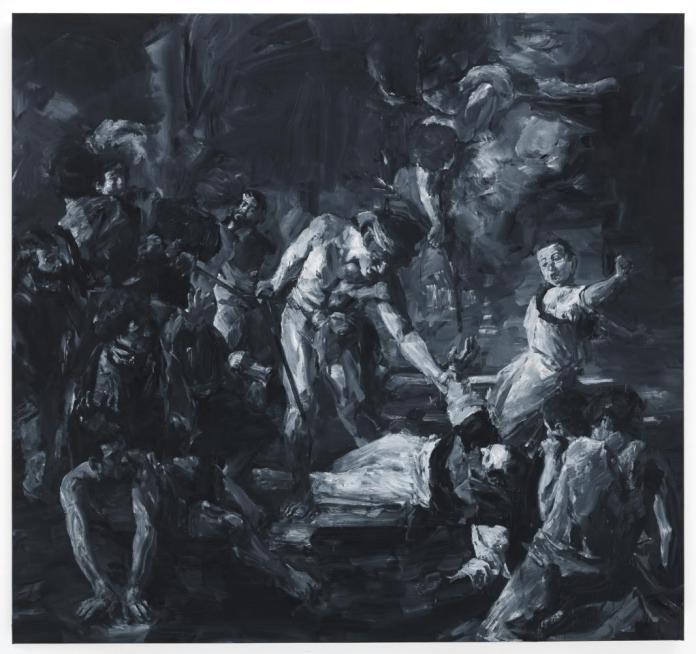 La Vocation de Saint-Matthieu; Le Martyr de Saint-Matthieu, d'après Caravage - Yan Pei-Ming, 2015 - Canvas n°2 , dyptique - 322 x 340 cm ; 323 x 343cm - Photographie : André Morin © Yan Pei-Ming, ADAGP, Paris, 2012