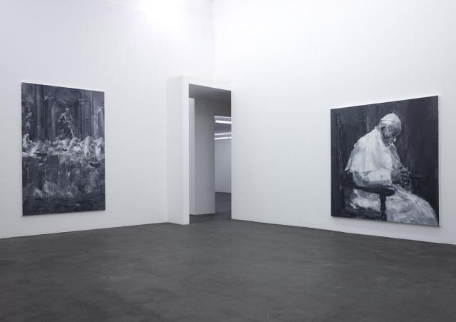 Exposition Ruines du temps réel - Yan Pei Ming, Fontaine de Trévi, 2015 - Pape François, 2015 - huiles sur toile. Photographe Marc Domage © Yan Pei-Ming