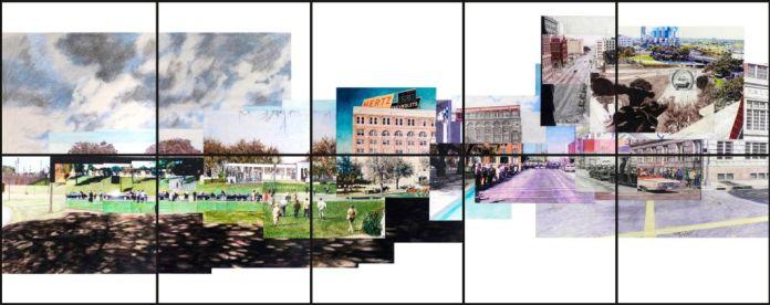 Alain Josseau,Time surface N10 dealey plaza2 small, 2015, crayon papier et craie sur papier,10 encadrements sous verre (80x80 cm), 160 x 400 cm (Galerie Claire Gastaud)
