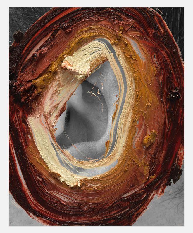 Urs Fischer, lodine 2016 Panneau d'aluminium, époxy, mousse de polyuréthane renforcée, apprêt acrylique, enduit, encre acrylique, médium sérigraphique à l'acrylique, peinture acrylique, huile 215,9 x 172,7 x 2,5 cm Édition unique Collection privée Avec l'aimable autorisation de l'artiste