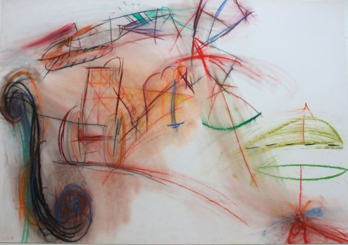 Daniel Dezeuze, Série armes de guerre, 1988, pastels sur papier, 75 x108 cm (AL/MA)