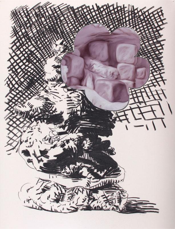 David Wolle, Saynètes, 2016, fusain et peinture à l'huile, 50x75 cm (Vasistas)