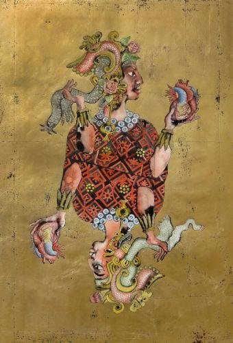 Eudes Menichetti, Judith, 2016, aquarelle et feuille d'or sur papier, 115 x 77cm (Galerie ChantiersBoîteNoire)