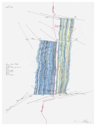 Jorinde Voigt, Nexus Studies II, 2 Horizonte, Mögliche Farben des Horizonts, Himmelsrichtung, Extern Zentren, Rotation, Kontinentalgrenze, 2011, Colored pencil, graphite and pen on paper, 61 x 46 cm, © Studio Voigt - Collection Hoche Partners Luxembourg