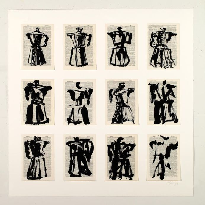 William Kentridge, Universal Archive (Twelve Coffee Pots), 2011, Linogravure imprimée sur pages d'encyclopédie trouvée, contrecollées sur papier Arches, 105 x 103.5 cm. Galerie Marian Goodman. Courtesy de l'artiste et Marian Goodman Gallery © William Kentridge Studio