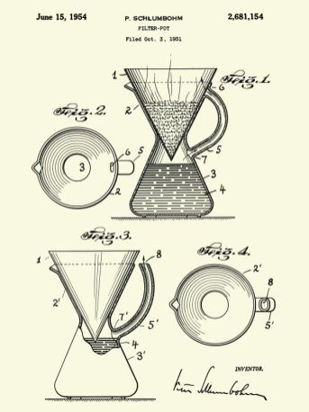 Peter Schlumbohm, Patent poster Filter pot, 1951, affiche de brevet d'invention, 61 x 45 cm. Chemex Coffee Maker © CHEMEX® Corporation. Massachusetts, USA