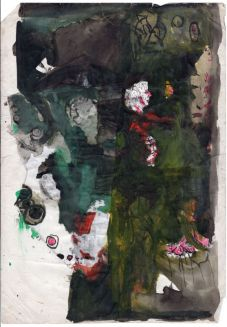 Anna Boghiguian, Untitled, 1981-86 peinture, aquarelle, impression encre, impression xerox, collage sur papier / paint, water color, ink stamp, xerox printing, collage on paper 41,8 x 30 cm. Courtesy de l'artiste & Sfeir-Semler Gallery Hambourg/Beyrouth. © Anna Boghiguian.