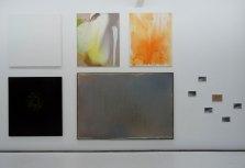 La peinture à l'huile c'est bien difficile… au FRAC à Montpellier. Vue de l'exposition - mur 1 : Filip Francis,Profil de M.D., 2006, pigments de maquillage sur toile, 160 x 160 cm. Samuel Richardot, Ascona, 2014, huile sur toile, 162 x 120 x 3 cm - 29/03-25/04 12, 2012, acrylique sur toile, 162 x 130 x 3 cm. Luc Andrié, ON, veine, 2015, acrylique sur toile, 155 x 185 cm. Bruno Carbonnet Objet, 1990, huile sur toile, 180 x 162 cm. Jules Olitski, Serenities, 1982, acrylique sur toile, 198 x 287 cm. Jean-Pierre Bertrand, Mixed Mediums, 1975, épreuve noir et blanc rehaussée de crayon et papier citron, 5 x (15 x 23,5 cm), dessin : 21 x 29,7 cm.