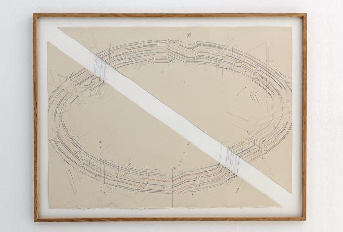 Keita Mori- Bug report (circuit), 2016, fil de coton et fil de soie sur papier, 80 x 100 cm - Photo Iconoscope Montpellier