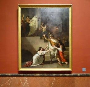 Joseph Benoit Suvée, Enée, dans l'embrasement de Troie, voulant retourner au combat, est arrêté par sa femme Créüse, 1784-1785 - Musée Fabre - Galerie des Colonnes
