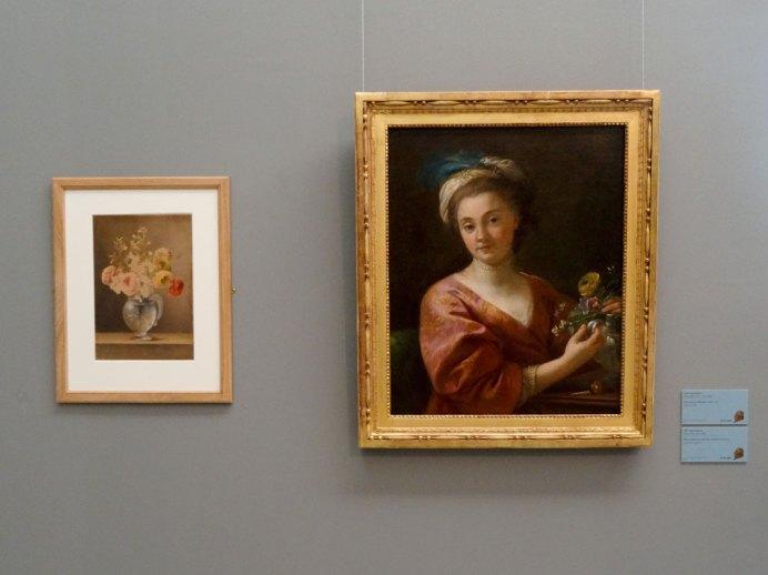 Marie Thérèse Vien, Fleurs dans un vase de cristal et Joseph-Marie Vien, portrait de Marie Thérèse Reboul, 1760 - Musée Fabre - Salle David