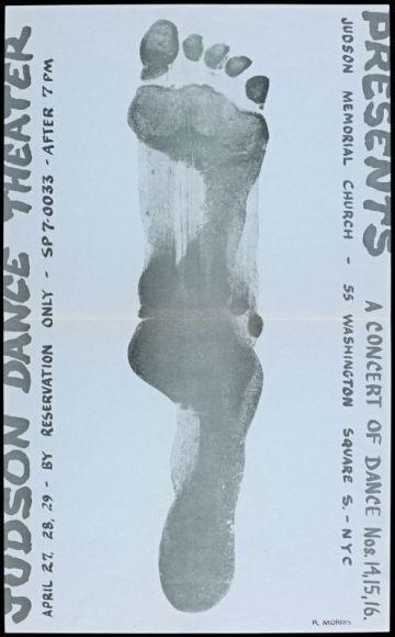 Yvonne Rainer & Robert Morris, Affiche pour « A Concert of Dance Nos. 14, 15, 16 », Judson Memorial Church, New York, 1964. The Getty Research. Institute. © Yvonne Rainer & AGAGP, Paris, 2017