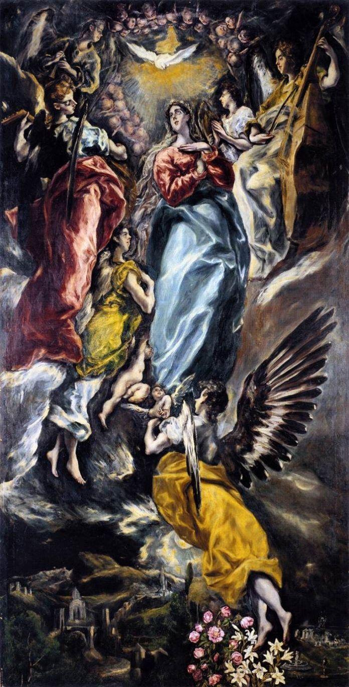 El Greco, L'Immaculée Conception de la chapelle Oballe, 1608-1613. Huile sur toile, 3,48 x 1,74 m - Musée de Santa Cruz