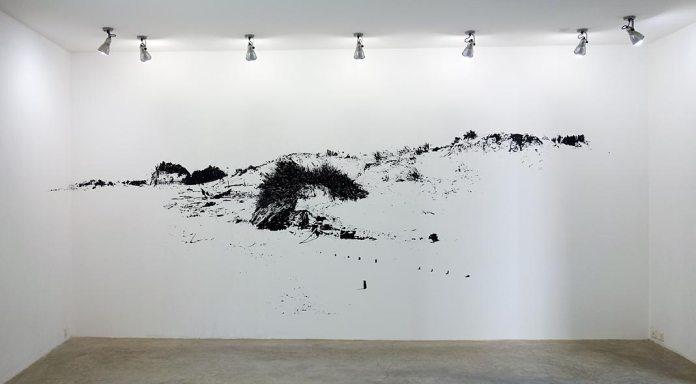 Julien Cassignol, Les Orpellières, 2017 - Encre de chine sur papier, 138 x 46 cm. - Galerie Vasistas