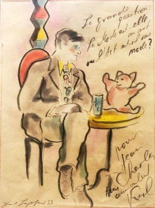 Karl Lagerfeld, La grande question, 1993, pastel et encre sur papier. Collection Jean-Charles de Castelbajac - Drawing room 017
