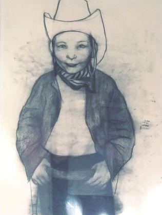 Rita Ackerman, Little cowboy, 2001, mine de plomb sur papier, 80 x 40 cm. Collection Jean-Charles de Castelbajac - Drawing room 017