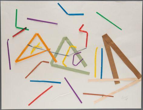 Hessie, [sans titre], 1970, collage de bandes de papier de couleurs (beige, bleu, jaune, marron, orange, rouge, vert) sur papier blanc, 50 x 65 cm