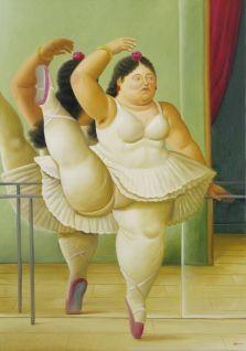 Fernando Botero, Ballerine à la barre, 2001 Huile sur toile 164 x 116 cm Collection privée © Fernando Botero