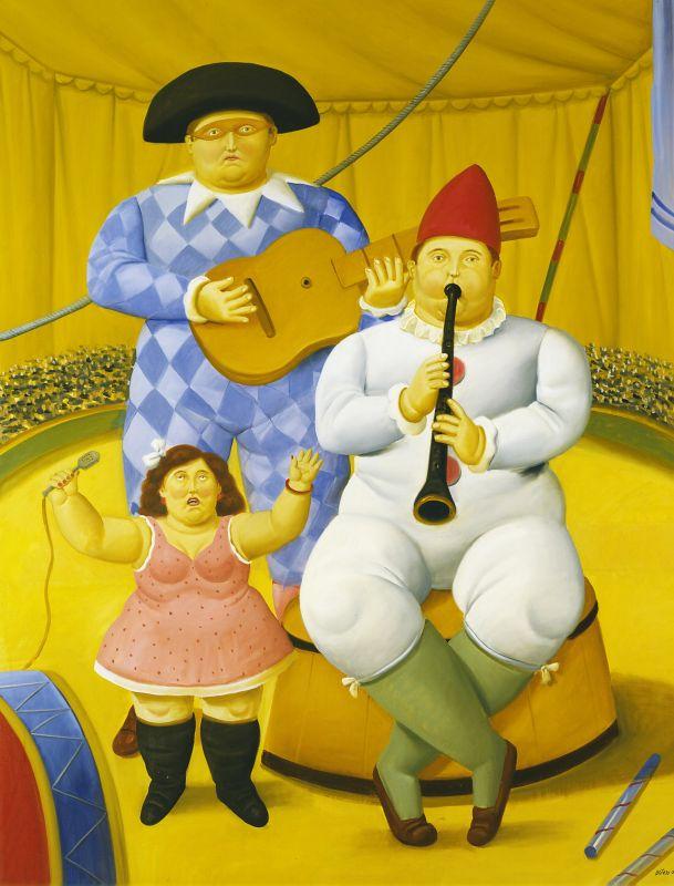 Fernando Botero, Musiciens, 2008 Huile sur toile 178 x 100 cm Collection privée © Fernando Botero