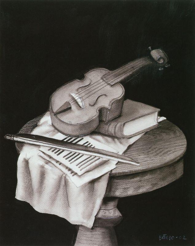 Fernando Botero, Nature morte au violon, 2002 Crayon et encre sur papier 37 x 30 cm Collection privée © Fernando Botero