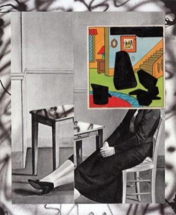 Hippolyte Hentgen, Balthus, (série «1,2,3»), 2017, technique mixte sur papier, 24,5 x 30 cm. © Hippolyte Hentgen