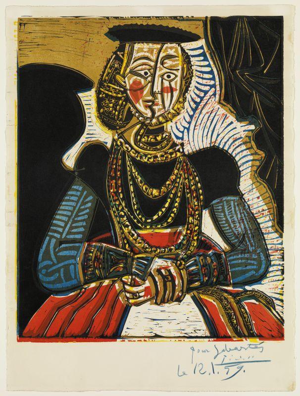 Pablo Picasso, Portrait d'une dame, d'après Cranach le Jeune II Cannes, 4 juillet 1958 © Succession Picasso Gravure 64 x 53,5 cm Museu Picasso, Barcelone © Succession Picasso 2017, Don de Jaume Sabartés, 1962 © Photo : Museu Picasso, Barcelona / Gasull Fotografia