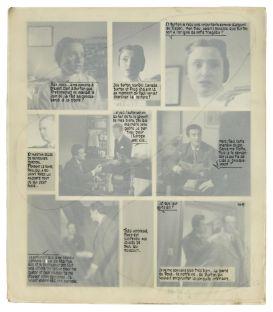 Planche de la maquette originale du roman-photo La Nuit du passé, années 1950-1960. Tirages photographiques collés sur carton, calque. Collection particulière © DR. Cliché: Josselin Rocher