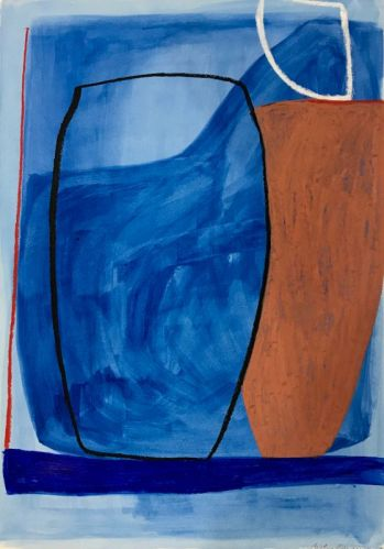 Caroline Denervaud, Vases et la mer, 2017. Caséine et pastel. 70 x 50 cm - Shapes, Body and Soul - Double V Gallery