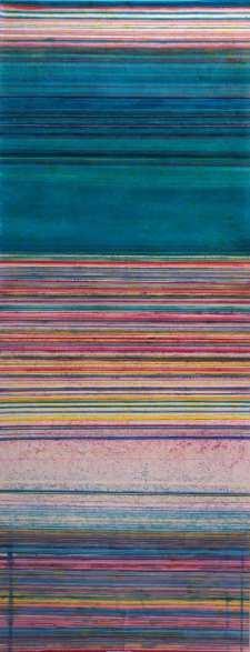 Jean-Michel Meurice,, Pénélope, 1973. teinture et acrylique sur toile, 600 x 250 cm, dépôt de l'artiste, 2017 © Musée Fabre de Montpellier Méditerranée Métropole - photographie Frédéric Jaulmes