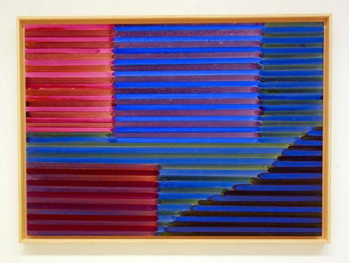 «Supports-surfaces, et après...» à la galerie Clémence Boisanté - Jean-Michel Meurice, acrylique sur carton de la série Boukhara