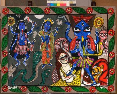 André Cervera & Swarna Chitrakar, Krishnakali, 2016. acrylique sur toile de lin, 60 x 80 cm © Pierre Schwartz