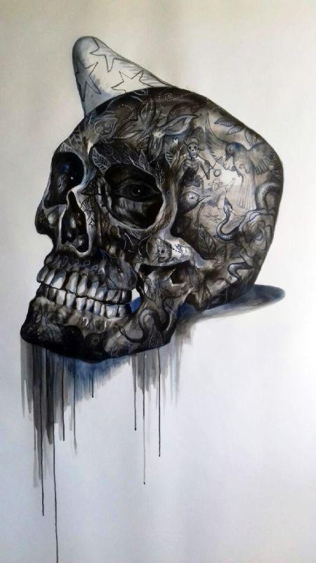 Carmelo Zagari, Crâne, acrylique sur papier, 180 x 150 cm, 2018
