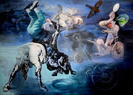 Mohamed Lekleti, Le Temps s'efface au rythme des rêves, 2017. technique mixte et taxidermie sur toile, 195 x 270 cm