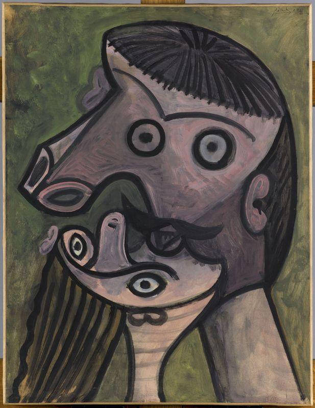 Pablo Picasso Le Baiser 30 décembre 1943 huile sur papier 66 x 50 cm Musée national Picasso-Paris en dépôt au Musée Cantini, Marseille © Succession Picasso 2018 - Picasso, voyages imaginaires à la Vieille Charité - Marseille