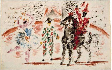 Pablo Picasso, Projet de rideau de scène pour le ballet Pulcinella : Arlequin dans la piste avec danseuse et écuyer, 1920 Huile sur papier, 15,8 x 25 cm Paris, Musée national Picasso-Paris Dation Pablo Picasso, 1979. MP814