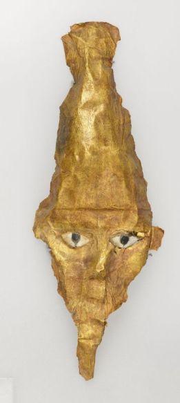 Masques d'Osiris Végétant, époque ptolémaïque. Or, 16 × 7 cm. Musée d'Archéologie méditerranéenne, Marseille © Ville de Marseille, Dist. RMN-Grand Palais / David Giancatarina