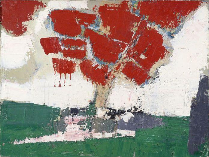 Nicolas de Staël, Arbre rouge, 1953, huile sur toile, 46 x 61 cm, collection privée © Adagp, Paris, 2018, photo : © Christie's