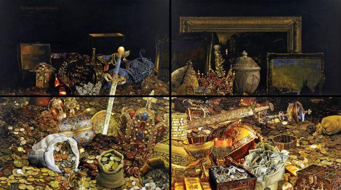 Gilles Barbier, The Treasure Room (Fourth Stomach), 2012. Encre et gouache sur papier, 4 panneaux de 144,2 × 254,3 cm. Collection particulière, Paris © Courtesy Galerie GP & N Vallois, Paris. Photo : Jean-Christophe Lett © ADAGP, Paris, 2018