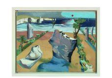 Paul Nash. Cercle de monolithes, vers 1937–1938. Huile sur toile, 71 × 92 cm. Collection privée.