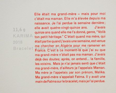 gethan&myles, Lazare - The Space Between How Things Are And How We Want Them To Be (Karima - Texte), 2018 - « OR » au Mucem
