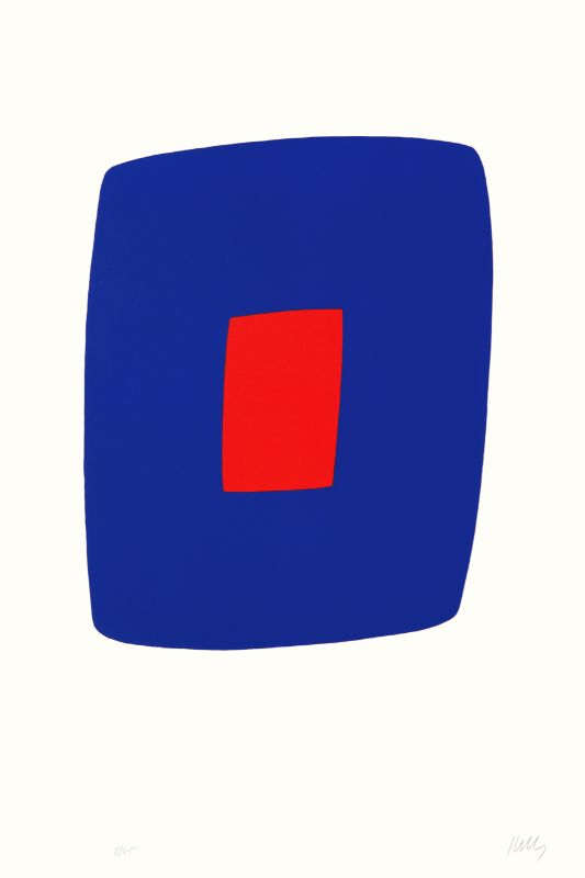 Ellsworth Kelly, Bleu foncé avec rouge [Dark Blue with Red] (AX10), de la Suite de vingt-sept lithographies en couleur [Suite of Twenty-Seven Color Lithographs], 1964-1965 lithographie sur papier Rives BFK, EA (éd. 75), 89,5 x 60 cm Institut National d'Histoire de l'Art, Paris © Ellsworth Kelly Foundation