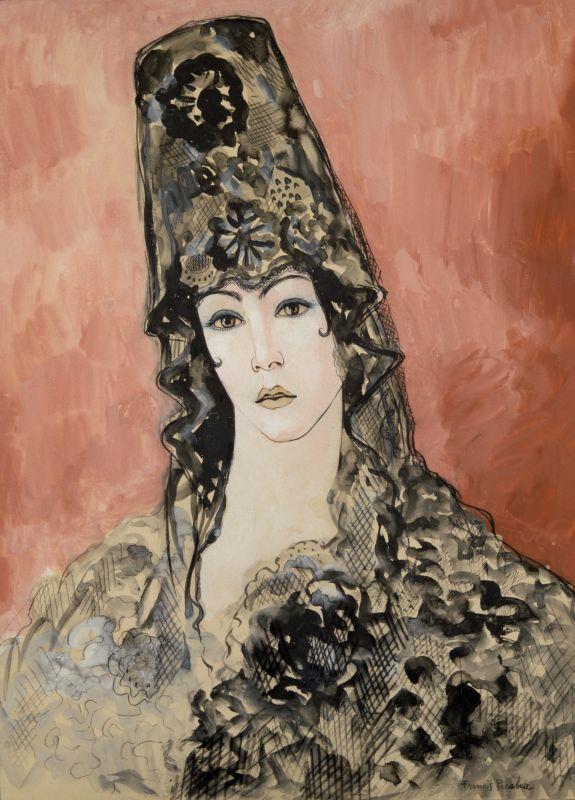 Francis Picabia, Andalouse (Espagnole à la mantille), 1923-1926 Aquarelle sur papier, 63 x 44 cm Collection particulière © ADAGP, Paris 2018