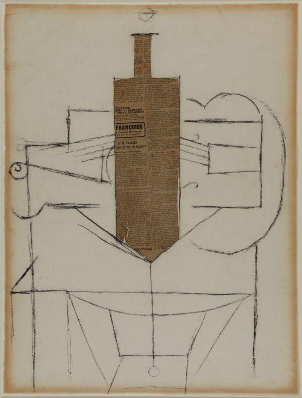 Pablo Picasso, Bouteille et violon sur une table, 3 décembre 1912, ou plus tard Papier journal découpé et collé et fusain sur papier, 60,96 x 46,99 cm New Orleans Museum of Art, The Muriel Bultman Francis Collection © Succession Picasso, 2018