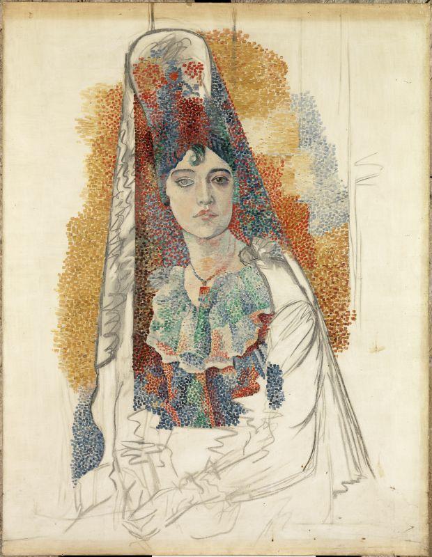 Pablo Picasso, Femme à la mantille (Fatma), 1917 Huile et fusain sur toile 116 x 89 cm Barcelona, Museu Picasso, © succession Picasso 2018