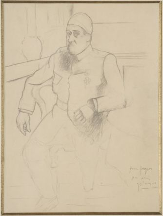 Pablo Picasso, Portrait de Guillaume Apollinaire, 1916 Crayon graphite sur papier vélin beige, 31 x 23 cm Musée national Picasso-Paris © Succession Picasso, 2018