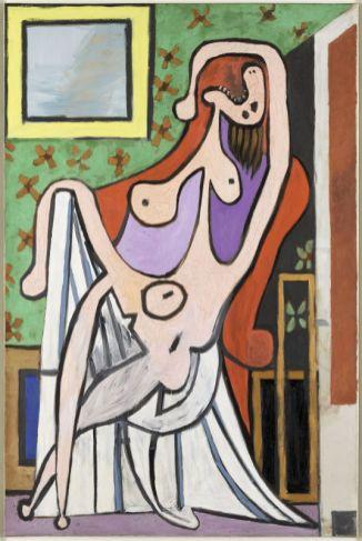 Pablo Picasso, Grand Nu au fauteuil rouge, 5 mai 1929, Paris, huile sur toile, 195 x 129 cm, Musée national Picasso-Paris, inv. MP113, dation 1979, photo © RMN-Grand Palais (Musée national Picasso-Paris) / Mathieu Rabeau, service presse / musée Fabre © Succession Picasso, 2018