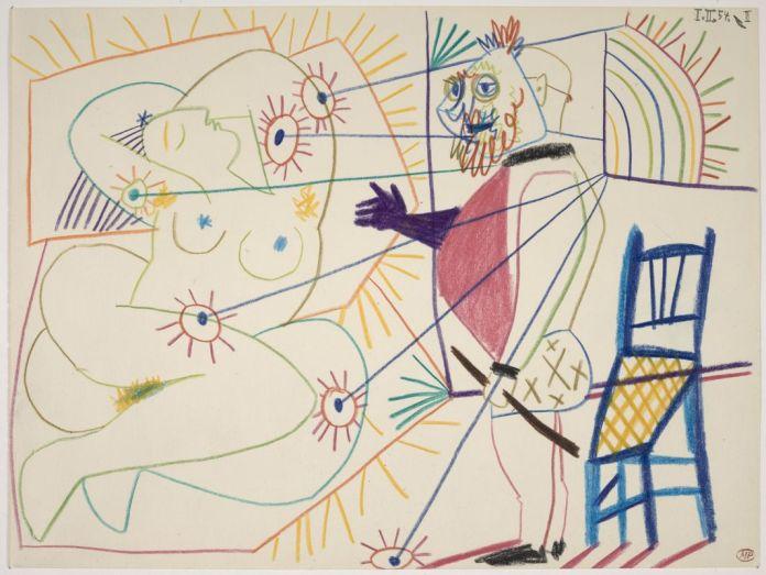 Pablo Picasso, Le Peintre masqué et son modèle, 1er février 1954, crayons de couleur sur papier à dessin vélin, 24 x 32 cm, Musée national Picasso-Paris, inv. MP1420, dation 1979, photo © RMN-Grand Palais (Musée national Picasso-Paris) / Mathieu Rabeau, service presse / musée Fabre © Succession Picasso, 2018
